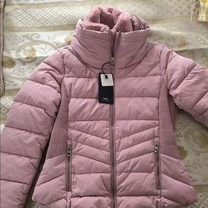 pink Zara puffer jacket fur collar